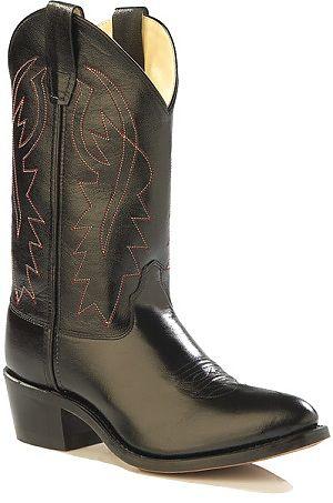 Jama Kids Black Leather Cowboy Boots