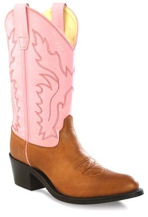 Old West Pink and Brown Girls Boot
