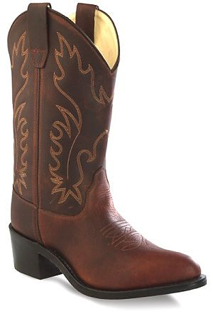 Kids Leather Cowboy Boots in Oiled Rust