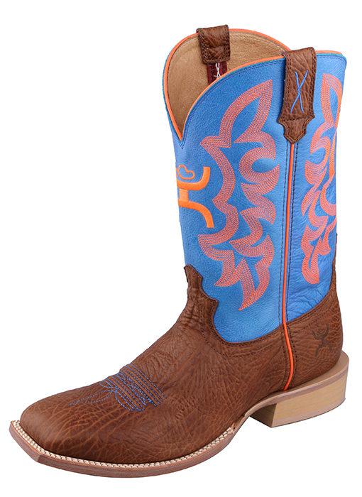 Men's Hooey Boot – Cognac Bull Hide/Neon Blue
