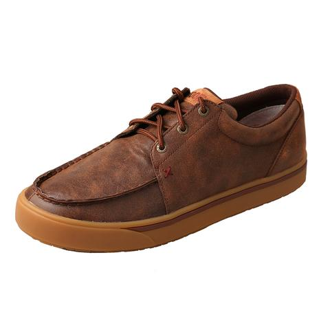 Mens Brown Leather Hooey Lopers Moc Sneaker Shoes