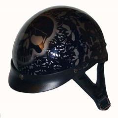Helmets Inc. Vented Black Boneyard Half Helmet