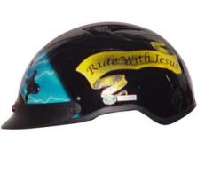 Helmets Inc. Vented Blue Cross Half Helmet