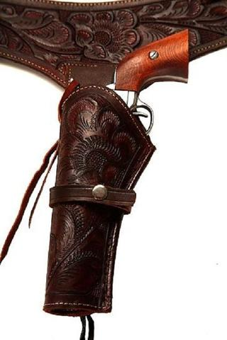 22 Caliber Brown Left Handed Western/Cowboy Action Style Leather Gun Holster and Belt