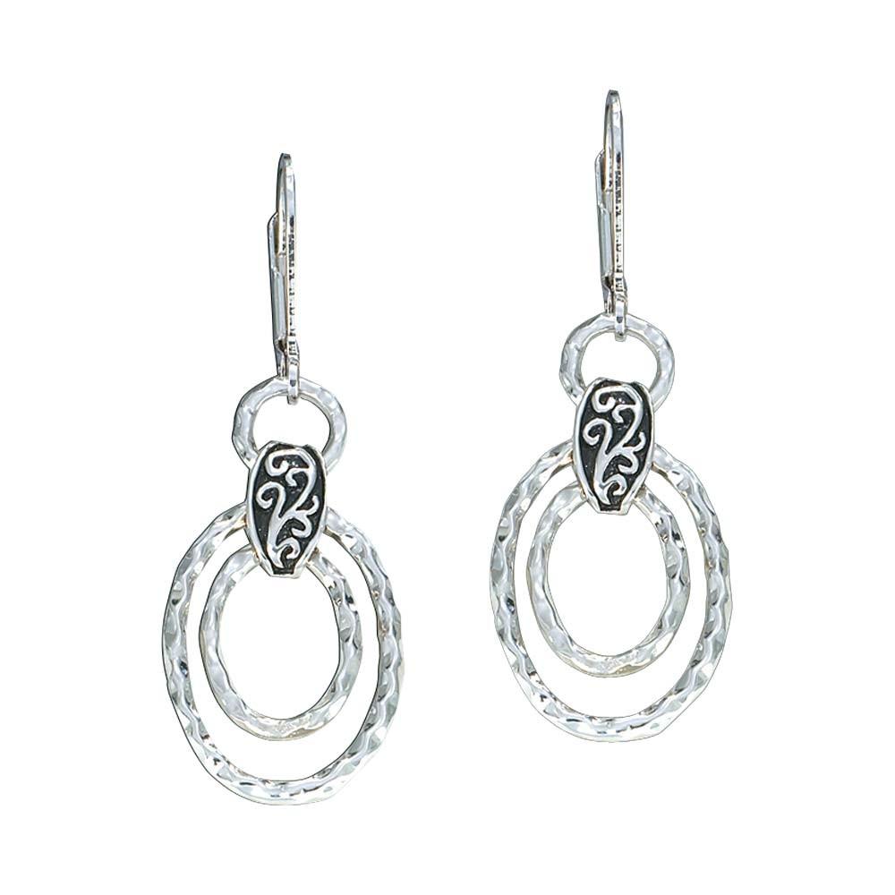 Hammered Ovals Dangle Earrings (ER1048)