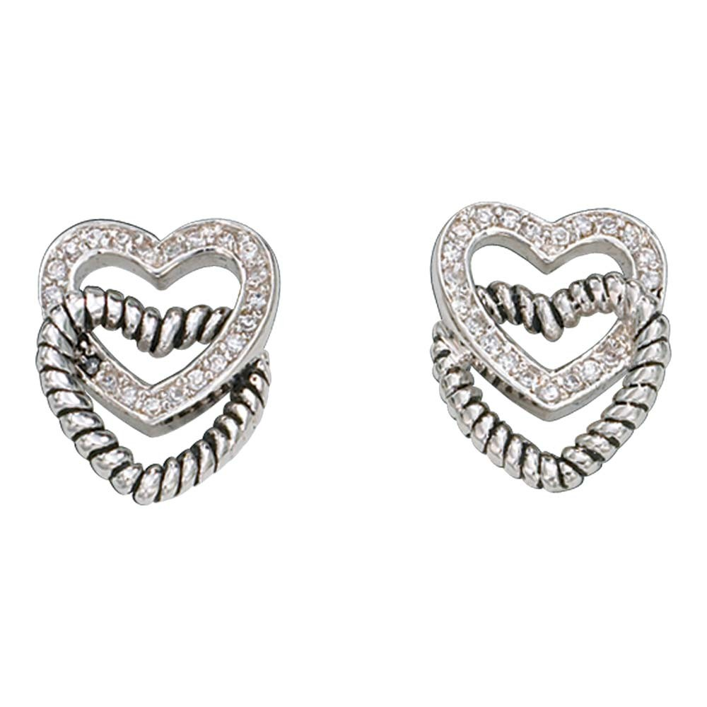 Crystal and Twisted Rope Hearts Post Earrings (ER1059)