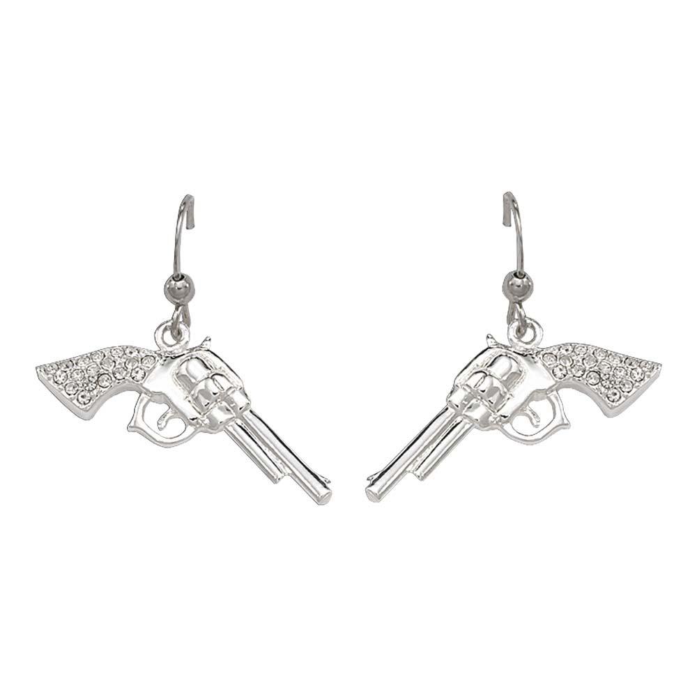 Cowgirl Pistols Rhinestone Handle Drop Earrings (ER61242)