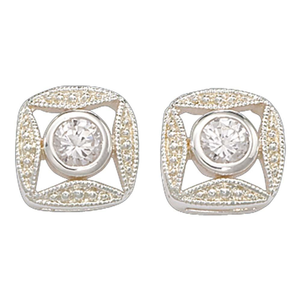 Bezel Set Square Crystal Earrings (ER61503CZ)