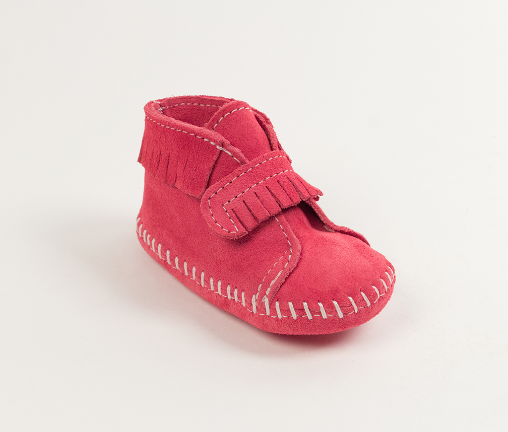 Infant Pink Suede Front Strap Bootie