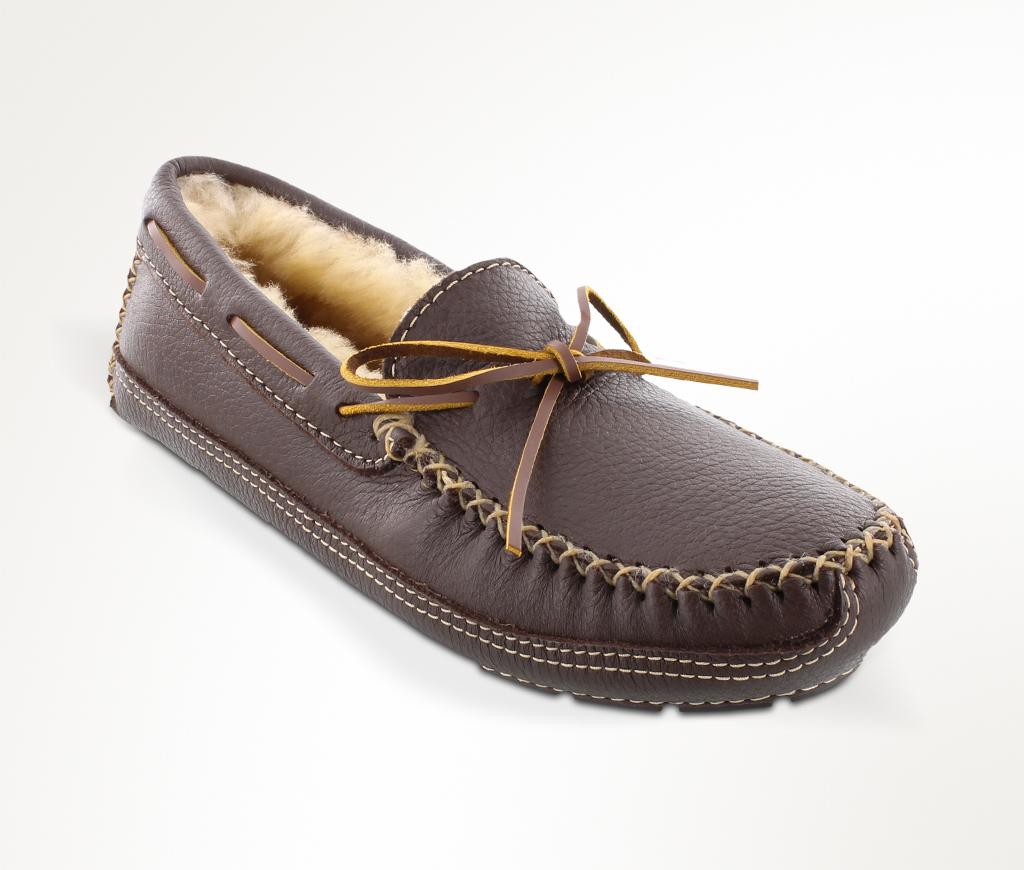 Men's Chocolate Sheepskin Lined Moose Slipper