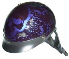 Helmets Inc. UNVENTED Purple Boneyard Half Helmet