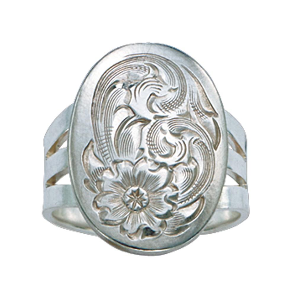 Bright Cut Silver Concho Ring (RG32)