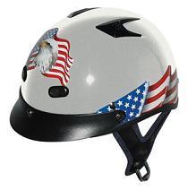 Helmets Inc. Silver Vented Eagle Half Helmet