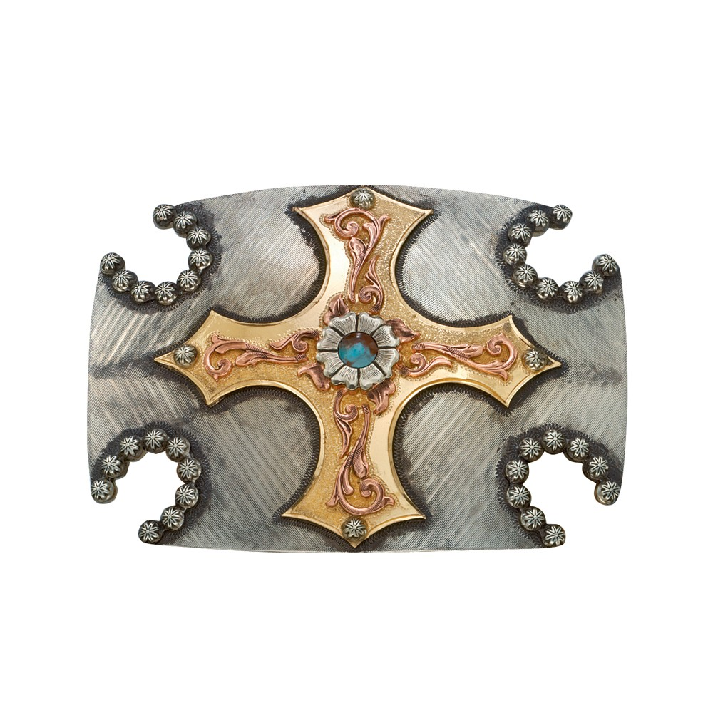 Cabochon Flower Cross and Horseshoes Western Belt Buckle (WB101)
